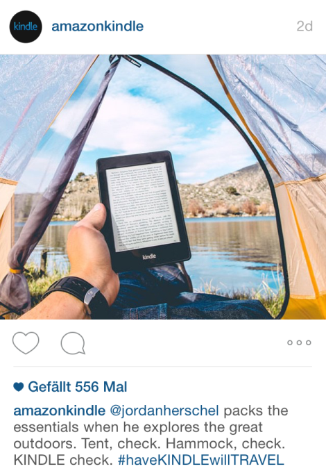 Amazon is spreading the word about how much Jordan Herschel enjoys the great outdoors with their Kindle